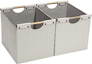 HOONEX 収納ボックス 折りたたみ式 収納バスケット 引き出し キューブボックス 洗濯カゴ 衣類収納かご おもちゃ収納 小物入れ 綿麻製 木製取っ手付き 幅32.4×奥行38.1×高さ32.4cm 大容量(2個セット) (ベージュ)