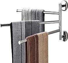 Handdoekenrek houder, handdoekstaven houder Swing handdoekrekken wandmontage handdoekhouder met haken 3-bar olie gewreven ...