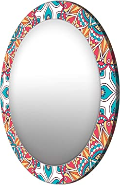 999Store Printed red and Yellow Abstract Round Mirror (MDF_17X17 Inch_Multi)