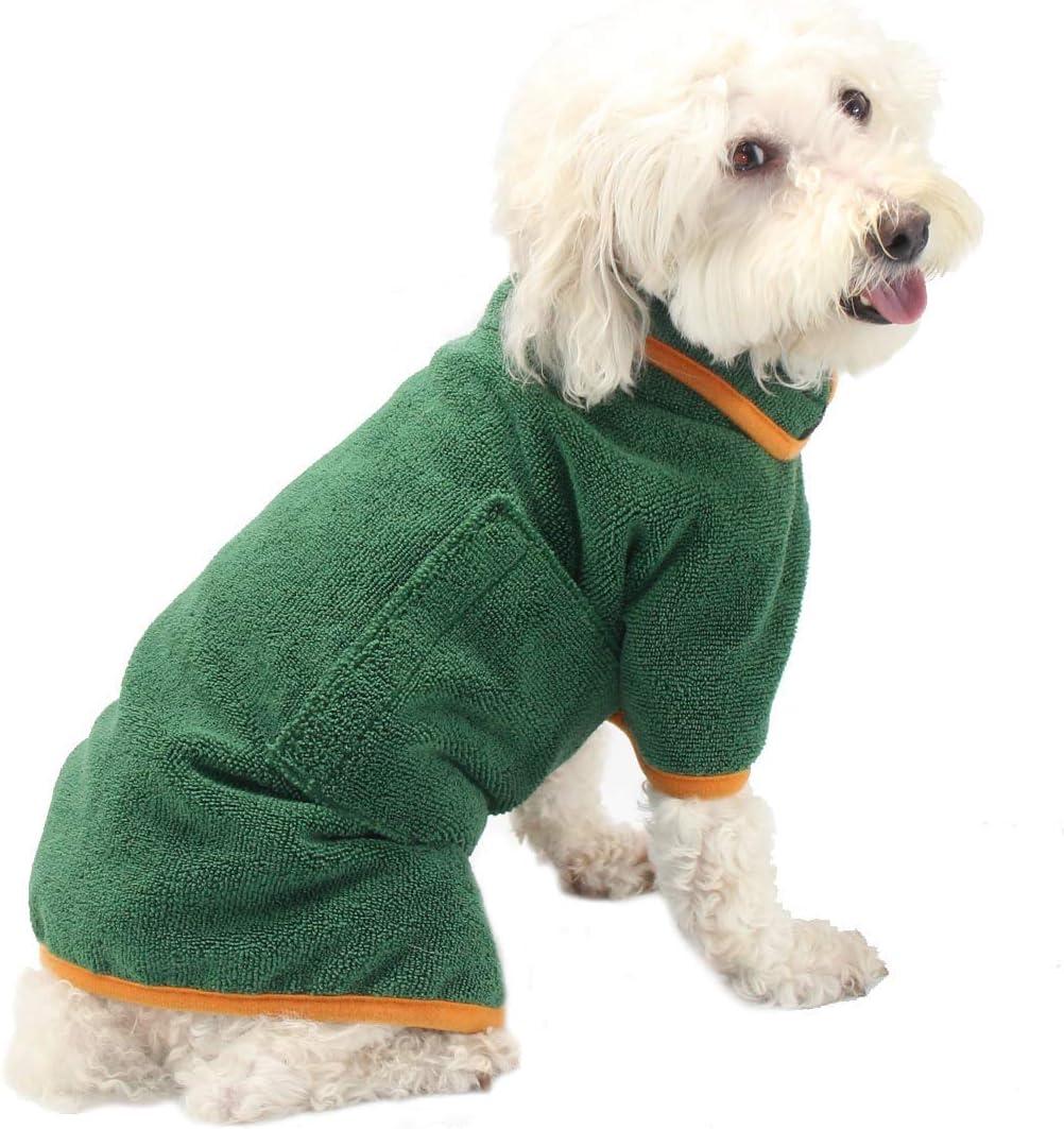 PETTOM Albornoz para Mascotas de Microfibra Absorbente,Toalla para Perros para Secado Tras el baño, Nadar o Paseo bajo la Lluvia, S