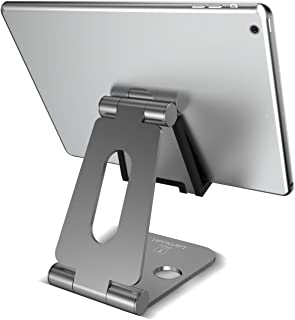 Tablet Stand Multi-Angle, Lamicall Cell Phone Holder for Desk, Adjustable Metallic Dock Cradle, Compatible with iPad Mini Pro Air, iPhone Xs Max XR X 8 7 6S 6 Plus, Switch etc, (4-10'') - Gray