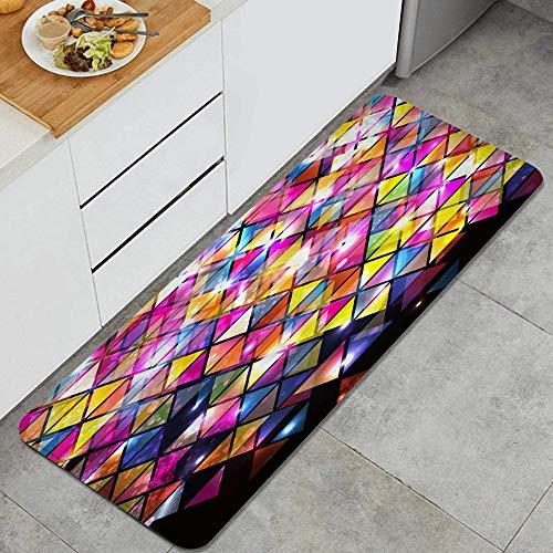 VAMIX Tappeto da Cucina,Astratto geometrico colorato triangolo geometrico viola nero giallo fantasia arte stampa,antiscivolo passatoia da cucina antiscivolo zerbino tappetino per il bagno