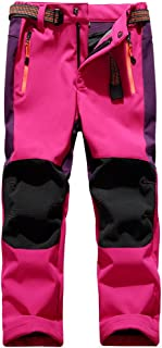 Kids Boy's Youth Fleece Lined Windproof Waterproof Hiking Ski Snow Pants, Soft Shell Expandable Waist Warm Insulated Trousers