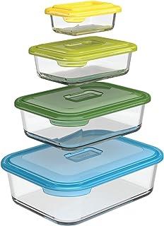 Joseph Joseph 81060 Nest Glass Storage, Freezer Oven Microwave Dishwasher Safe, 8-Piece Set, Multi-colored