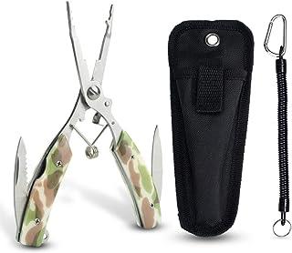 Zitrades フィッシングプライヤー 釣り用ペンチ 釣り具 ツール ステンレス 超軽量 多機能 専用ケースと安全ロープ付き 迷彩柄 (緑色)