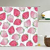 LILANG Duschvorhang 3D Wasserdicht Erdbeer Wassermelone Ananas Frischdruck Badvorhang Große Badezimmer Display Anti Mehltau Stoff Home Decor Mit Haken 200x200cm