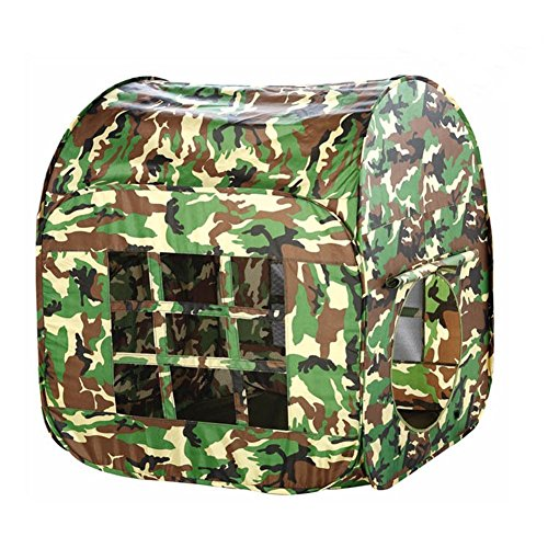 KooJoee Waterproof Anti-Mosquito Foldable Pop Up Indoor and Outdoor Army Green Camouflage Large Space Two-Door Playhouse/Castle/Tent Toys as a Best Gift for 1-10 Kids/boy/Girls/Baby/Infant (Square)