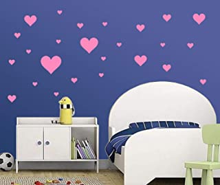Removable Baby Pink Hearts Wall Decals for Kids Room Decoration +