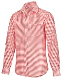 TR Martha Camisa para hombre de manga larga a cuadros, para Oktoberfest, adecuada para pantalones de piel, disponible en 4 colores rojo XXL