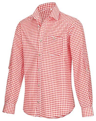 Trachtenhemd für Trachten Lederhosen Freizeit Hemd rot,balu,Grun-kariert Gr. S-XXXL (L, ROT)