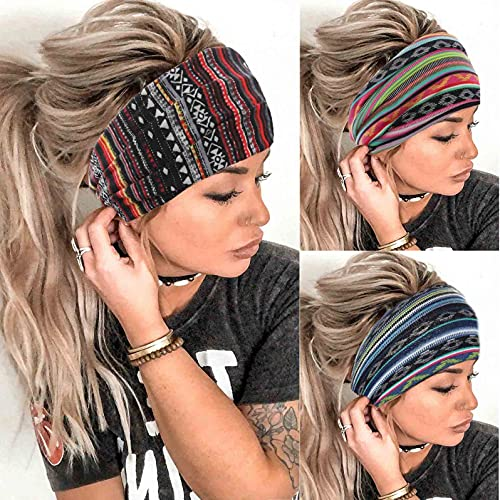 Aceorna Boho Headbands Wide Knot Hair Band Elastic Turban Head Band Stretch Leopard Twist Head Wraps Cloth Yoga Sweartband Fashion Hair Accessories for Women and Girls 3 Pcs (Set A)