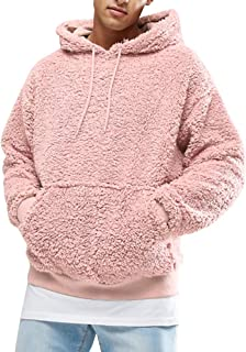 Mens Sherpa Pullover Hoodie Pebble Pile Fleece Oversized Sweatshirts Pockets Outfits Fuzzy Fluffy Kangaroo Outwear