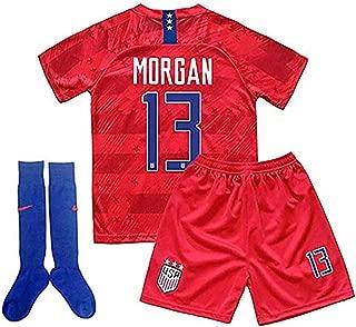 MALLKUB 2019/2020 Alex Morgan #13 USA National Team Away Kids Youth T-Shirt & Shorts & Socks Red