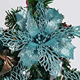 RECUTMS Pack of 12 Glitter Poinsettia Christmas Flowers Decorations Christmas Tree Ornaments,Artificial Wedding Christmas Flowers Wreaths Wedding Ornaments 6'(16cm) Diameter(Blue)