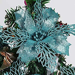 RECUTMS Pack of 12 Glitter Poinsettia Christmas Flowers Decorations Christmas Tree Ornaments,Artificial Wedding Christmas Flowers Wreaths Wedding Ornaments 6″(16cm) Diameter(Blue)