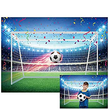 Allenjoy 7x5ft Football Backdrop Soccer Pitch Stadium Auditorium Light Photography Background for Boys Newborn Baby Shower Sports Theme Happy Birthday Party Decor Banner Portrait Photo Booth Props