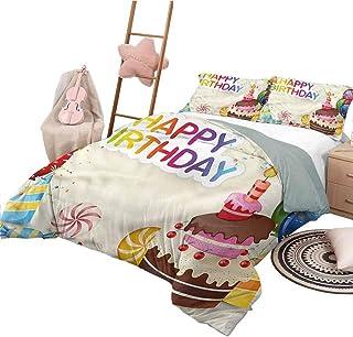 Imprimir Funda nórdica Colchas de cumpleaños King Size Colcha Elementos de Fiesta Coloridos