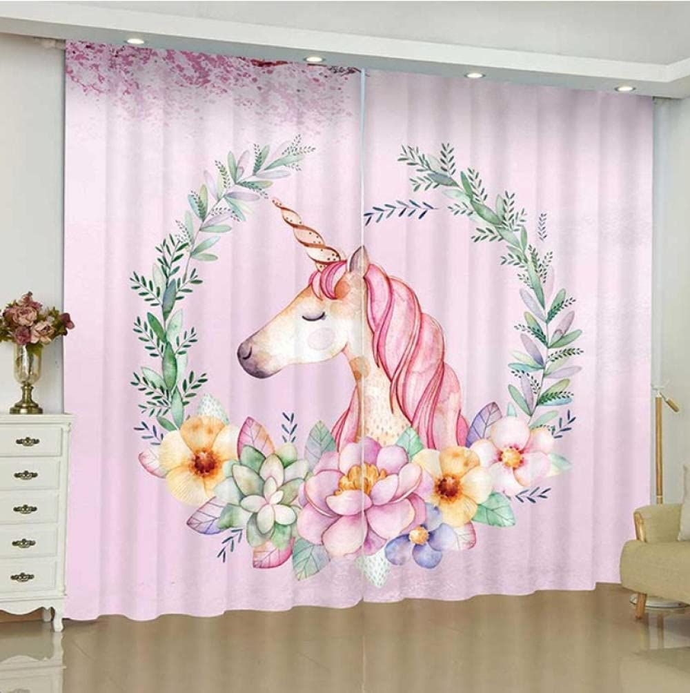 Blackout Kids NEW before selling ☆ Curtains for Bedroom Window Unicorn 2021 spring and summer new Pink Treatment