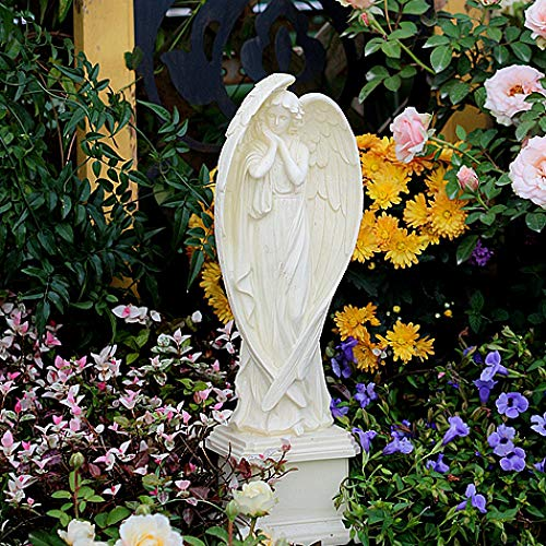 Mädchen Engel Auf Sockel Harz Große Flügel Engel Figur Grab Dekoration Garten Denkmal Ornament Pergola Statue