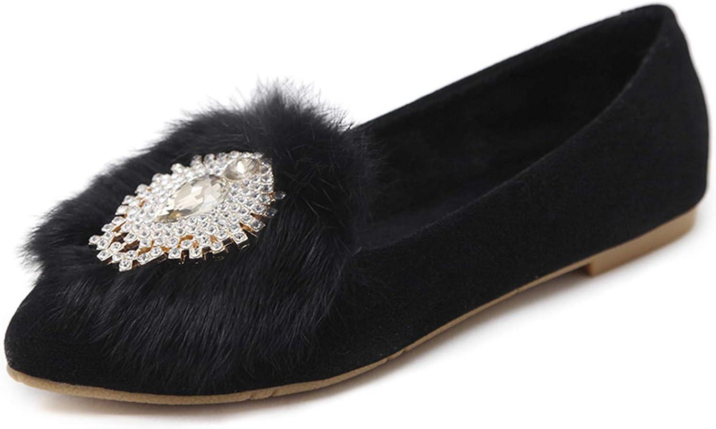 Missrooney New Women Round Rhinestone Buckle Ballet Flats Autumn Nubuck Leather Slip On Fashion Pointed Toe shoes Plus Size