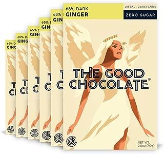 The Good Chocolate Zero Sugar 65% Ginger Dark Chocolate Bars, Organic, Keto Friendly, Low Carb, Sugar Free Snacks and Treats, 2.5 Ounce Bars (6 Pack)