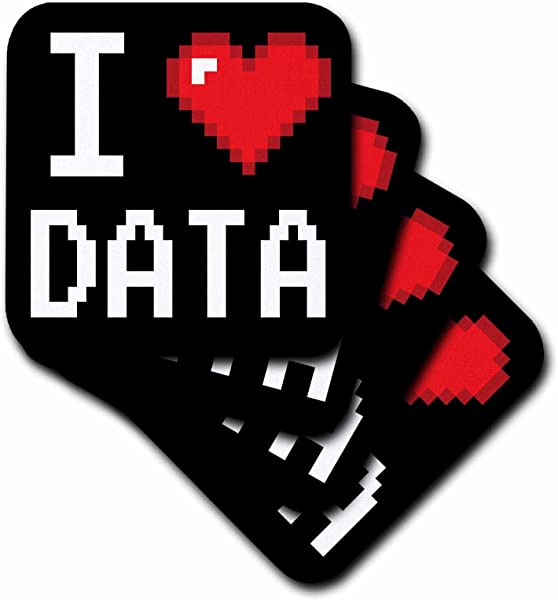 3dRose Geeky Old School Pixelated Pixels 8 Bit I Heart I Love Data Soft Coasters Set Of 4