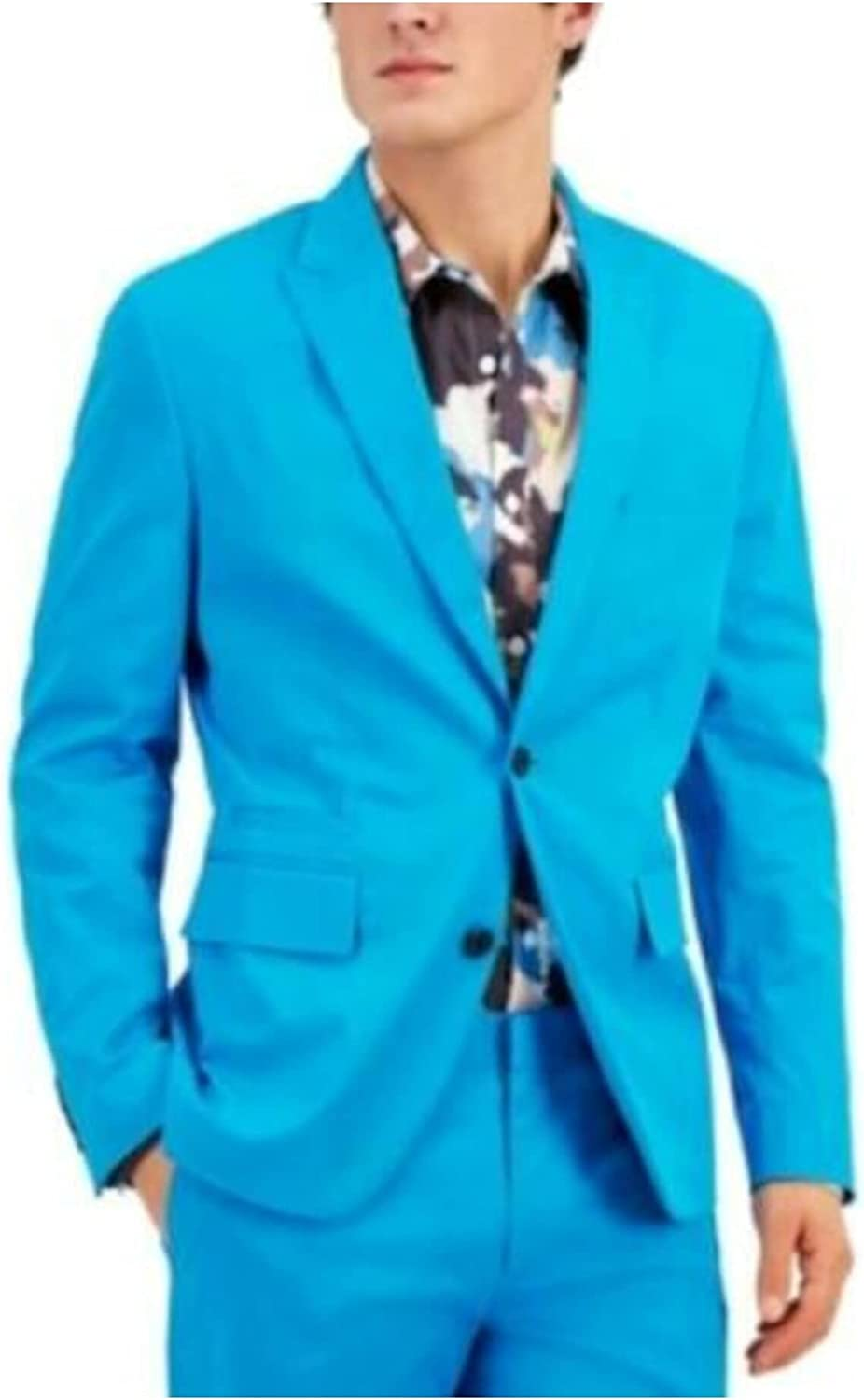 INC Mens Turquoise Single Breasted Slim Fit Blazer XL