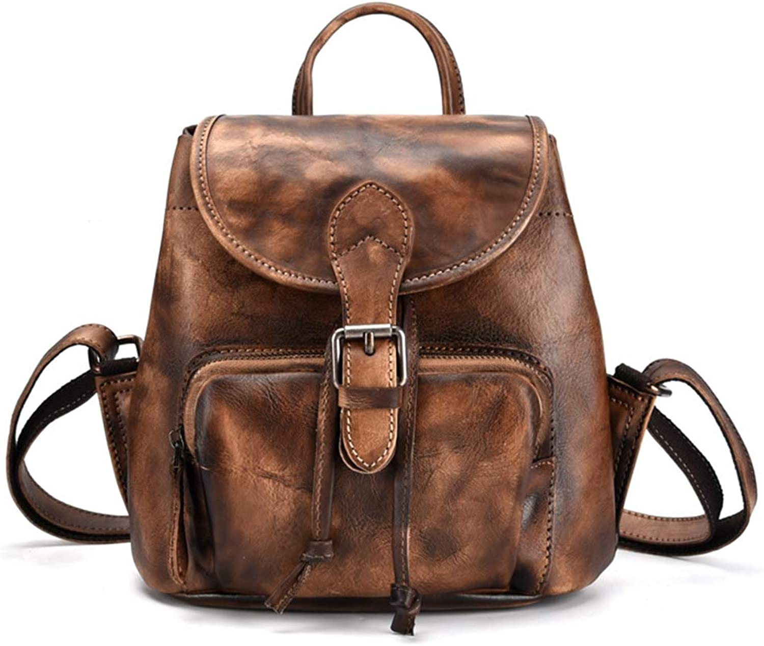 New vintage Women Real Genuine Hand Brush Leather Backpack Casual SchoolBag