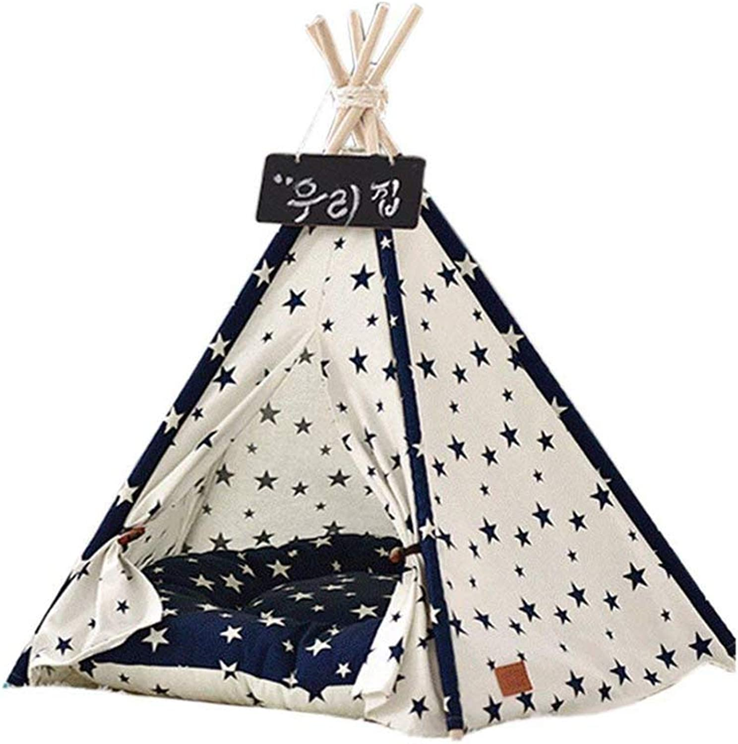 Quner Dog Teepee Bed Portable Blackboard Stars Pattern Tents with Cushion House for Dog Cat Pet and Other Animals
