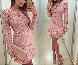 Alician Fashion Women Lace Hollowed-Out Crocheted Long-Sleeved Dresses Elegant High Waist Dress