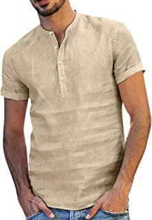 Men Short Sleeve Solid Tops, Male Baggy Cotton Linen T-shirt Summer Retro Button Blouse Shirt Tunic Tops