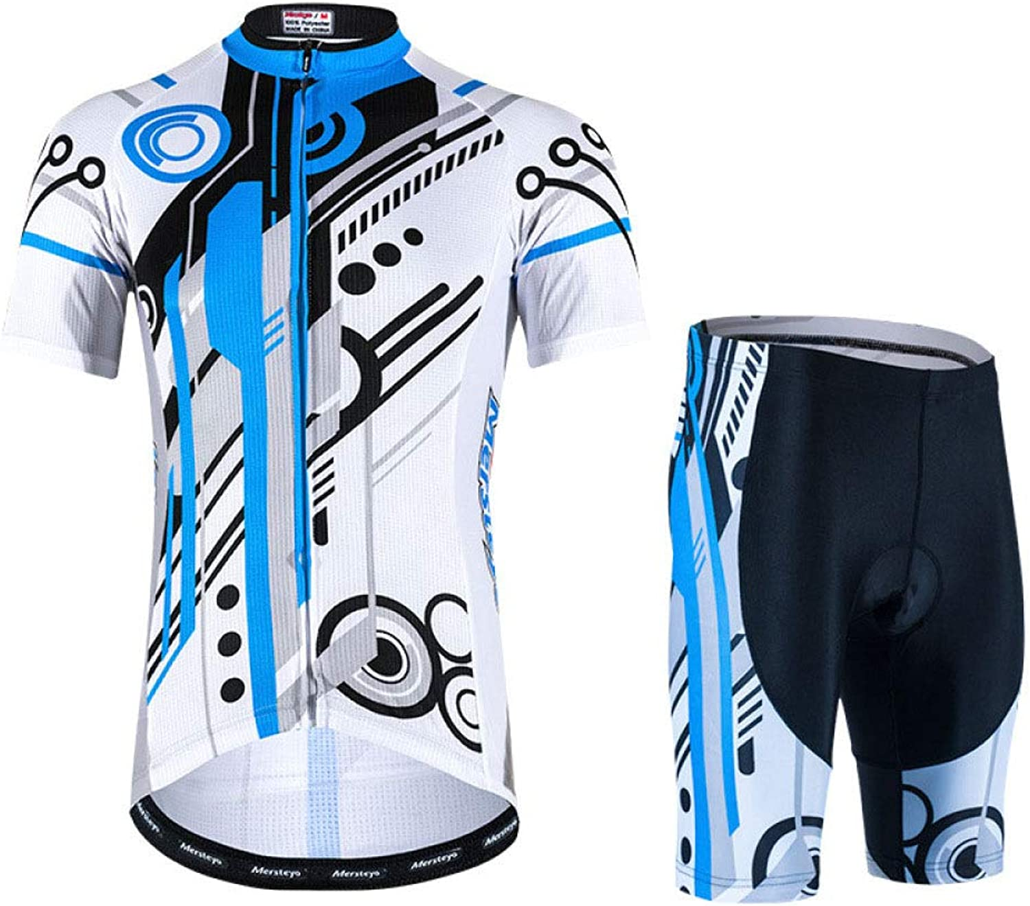 Cycling Jersey Jersey Men's Cycling Short Sleeve Shorts with 3D Gel Cushion Cycling Bicycle,WhiteXXXXL