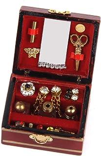 Apofly Dollhouse Accessoires Vintage Rectangle Boîte À Bijoux Boîte Babiole Ornement Fini Antique Gravé Organisateur Boîte...