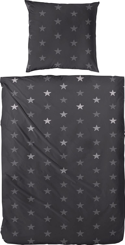 Edel Flanell Bettwäsche 174031 Sterne in schwarz anthrazit 155x220 + 80x80 cm B01LT385NK