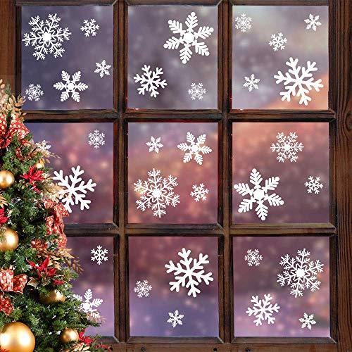 Fensteraufkleber Schneeflocke Weiß,Weihnachten Selbstklebend Fensterdeko,Schaufenster Deko Weihnachten,Schaufenster Deko Weihnachten,Christmas Decorations Window,Weihnachtsdeko Weiß(135pcs)
