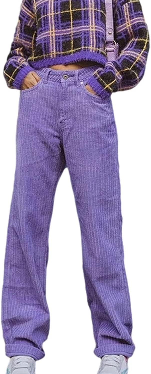 Women Corduroy Pants with Straight-Leg High Waist Version, Street Casual Retro Style Solid Color Fall Clothing