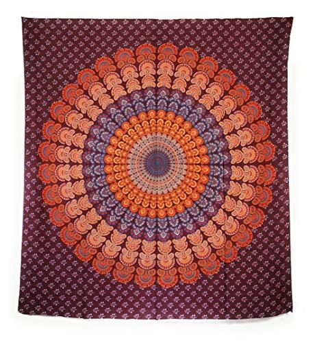 Aga's Own Indische Mandala Tagesdecke, Wandtuch, Tagesdecke Mandala Druck - 100prozent Baumwolle, 210x240 cm, Bettüberwurf, Sofa Überwurf (Muster 06)