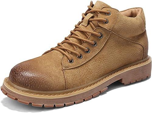 Bottes pour hommes ShuAnkle, mode décontractée Rétro confortables chaussures de travail montantes avec semelle antidérapante (Couleur  Khaiki, taille  42 EU) ( Couleuré   Marron , Taille   42 EU )