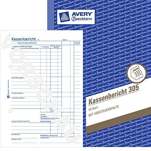 Avery Zweckform Kassenbericht 305, weiß DIN A5 hoch Inh. 50 Blat