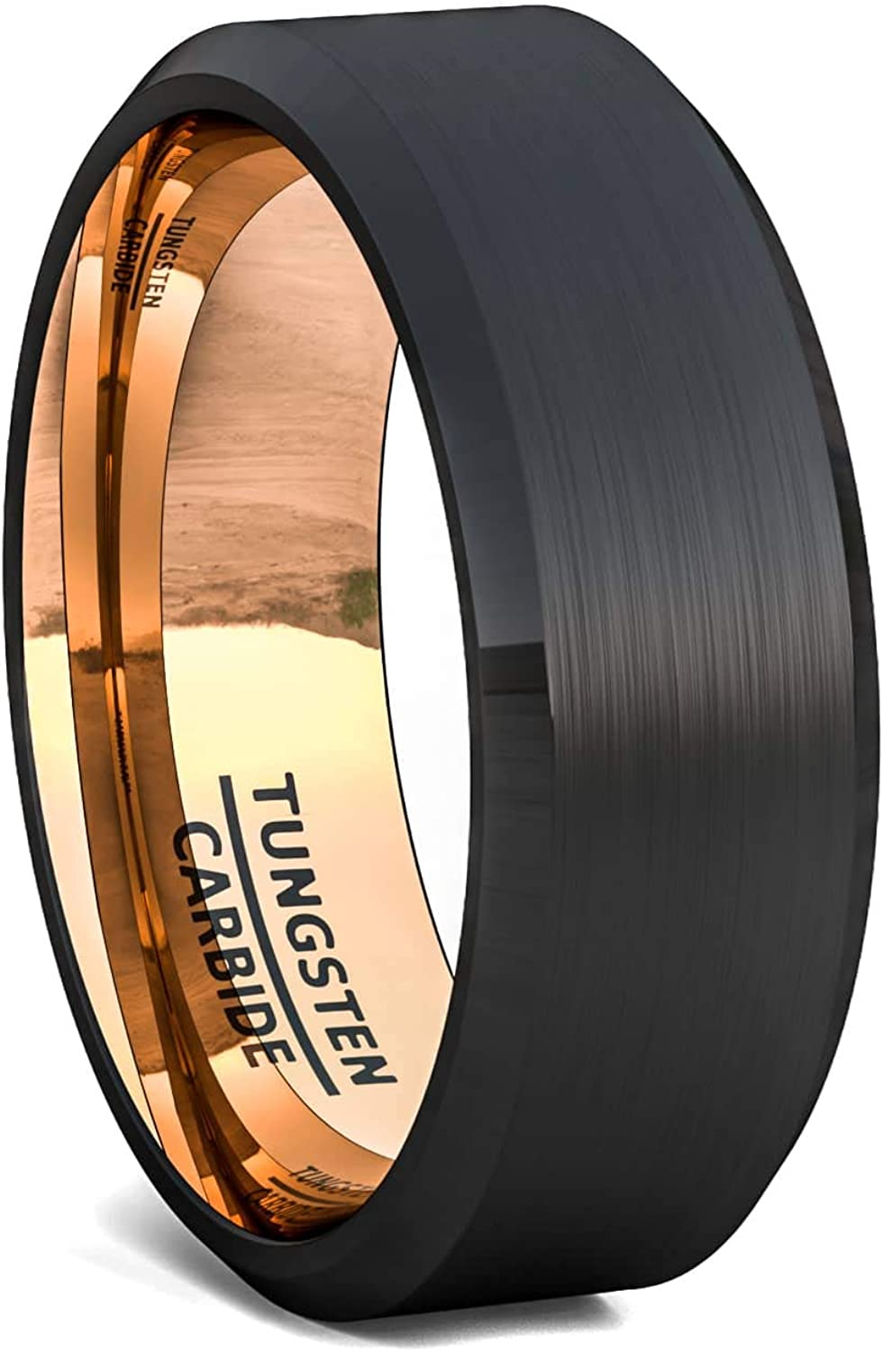 Duke Collections 8mm Two Tone Black with Blue/Gold/Rose Gold Tungsten Ring Matte Brushed Finish Surface Beveled Edge Mens Wedding Band Tungsten Carbide Comfort Fit