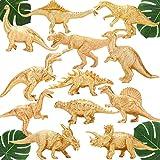 Metallic Gold Plastic Dinosaurs Figurine Toys, 12PCS Jumbo Golden Dinosaur Figures for Boys Girls, Baby Shower, Bridal Shower Decorations, Kids Dino Themed Birthday Party Supplies Cake Topper