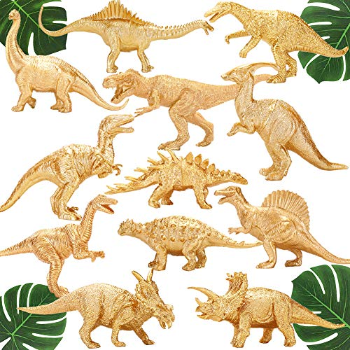 Metallic Gold Plastic Dinosaurs Figurine Toys, 12PCS Jumbo Golden Dinosaur Figures for Boys Girls, Baby Shower, Bridal Shower Decorations, Kids Dino Themed Birthday Party Supplies Cake Topper