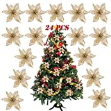 SERWOO (Dia. 15cm) 24pz Fiore Artificiale Natale per Albero Oro Finti Natalizi Decorazione Addobbi Ornamenti Natalizie