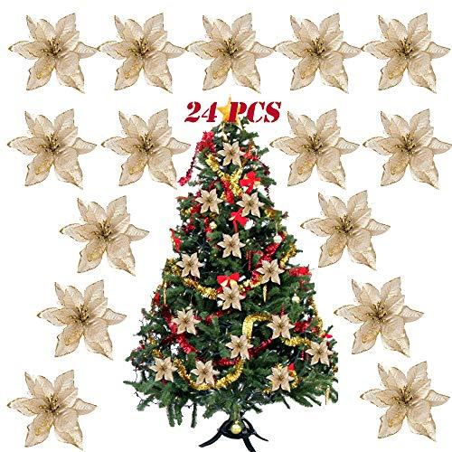 SERWOO 24pcs Flores Artificiales Decoraciones Árbol Navidad Boda Fiesta DIY Color Dorado (Diámetro 15 cm)