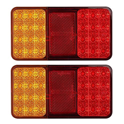 Justech 2PCS 24LED Luces Traseras Remolque 12V LED Pilotos de Remolque Luces de Freno Traseras Universal para Remolque Van Truck Camión Tractor