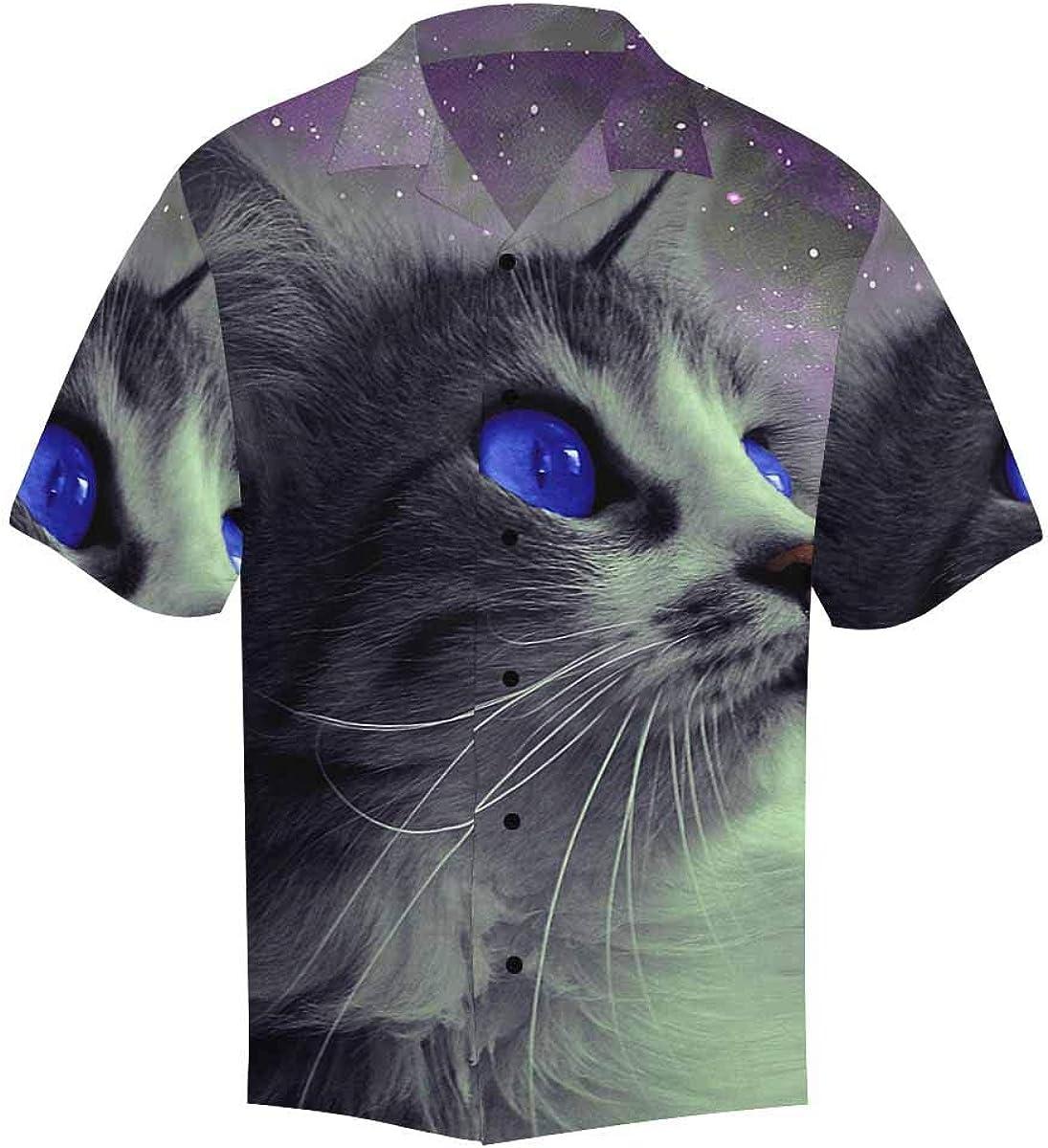 InterestPrint Men's Casual Button Down Short Sleeve Cats Pattern Hawaiian Shirt (S-5XL)