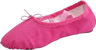 Women's Canvas Ballet Slippers Practice Yoga Flat Shoes Split Belly Shoes