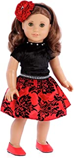 DreamWorld Collections - Holiday Spirit - 3 Piece Outfit - Holiday Red Taffeta Party Dress with Red Shoes and Headband - Clothes Fits 18 Inch American Girl Doll (Doll Not Included)