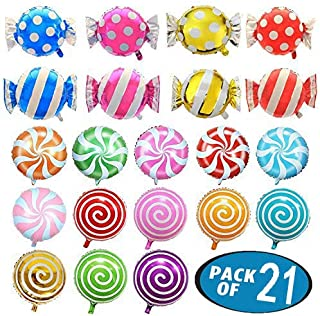 21 Pack Candy Balloons Set, Including 13 Pack Round Lollipop Balloons and 8 Pack Candy Shape Balloons, Candyland Party Decorations, Aluminum Balloons for Birthday Wedding Party