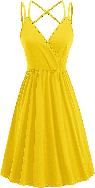 II ININ Women's Sundress V Neck Ranking TOP3 Wrap Summer Overseas parallel import regular item Solid Floral Casual